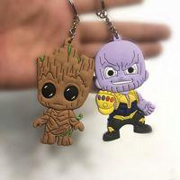 schwarze kinder puppe großhandel-New Avengers 3 Unendlichkeit War Thanos Black Panther Groot PVC Action-Figuren Spielzeug Puppe Keychain Kinder Geschenk