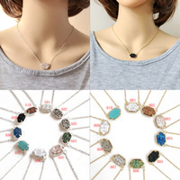 Wholesale drusy agate pendants for sale - Group buy Hot brand designer Druzy drusy necklaces Dangle Earring jewels Sets Women Geometric Natural rock stone pendant For Ladies Luxury Jewelry