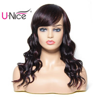 Wholesale remy human hair bangs online - Unice Hair Bettyou Wig Series Wet and Wavy Brazilian Human Hair Wigs With Bang Remy Human Hair Natural Bulk