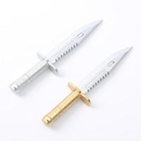 cuchillos únicos al por mayor-2 UNIDS Oficina Oficina Bolígrafos Único Estilo de cuchillo Bolígrafo Regalo Creativo Papelería de aprendizaje de oro plata