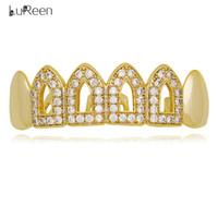kullanılan altın toptan satış-LuReen Gümüş Altın Buzlu Out CZ Üst veya Alt Çift kullanımlı Grillz 4 Açık Anahat Üst Alt Dişler Grillz Hip Hop Punk Dişler Takı