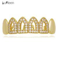 gebrauchte zähne großhandel-LuReen Silber Gold Iced Out CZ Oberer oder unterer Grillz 4 mit zwei Verwendungszwecken