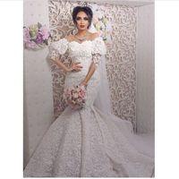 vestidos de casamento marfim venda por atacado-Sereia Vestidos De Casamento árabes 2019 Rendas Elegantes Manga Flare Marfim Vestidos De Noiva Vestido De Novia