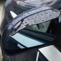Wholesale guard auto - Black 2pcs PVC Car Rear view Mirror sticker rain eyebrow weatherstrip auto mirror Rain Shield shade cover protector guard