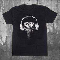 наушники с черепами оптовых-Каратель череп наушники логотип смешно мужская черная футболка тройник s-3XL