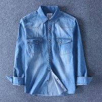 20d31c69c5 Spring Autumn Men Denim Thin Shirt Long Sleeve Soft Cotton Two Pockets Slim  Slight Elastic Jeans Cowboy 4xl. 45% Off