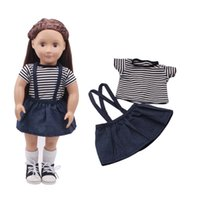 Wholesale jeans strap shorts - Cute Strap Jeans Dress and Striped Short Sleeve T-shirt for 18 Inch American Girl Doll also Fit For 43 cm New Baby Dolls Clothes
