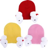Wholesale cashmere hats for kids resale online - Winter Warm Baby Hat Knitted Cap Lovely Cartoon Rabbit Ear Protection Children Warm Hat for Boy Girl Infant Kids Beanie Hat