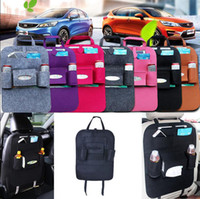 Wholesale bottle holder bag - Auto Car Back Seat Storage Bag Car Seat Cover Organizer Holder Bottle Box Magazine Cup Phone Bag Backseat Organizer OOA4813