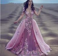 vestido de noche de manga larga burdeos al por mayor-2018 borgoña sexy de encaje de color rosa de manga larga sirena gala vestidos de baile desmontable extraíble falda india floral sobretodo prom vestidos de noche