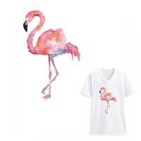 ingrosso diy patch di calore-3D Acquerello Flamingo Vestiti Patch adesivi per cappotto Famiglia Iron-on Heat Transfer Decorazione fai da te Appliqued Parches per Tote