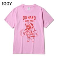 Wholesale funny exercise - Hot Sale Fashion Pug Squat Exercise Hard Design Mne's Creative Printed T-shirt Short Sleeve Male Funny Tops Hipster Casual Tee