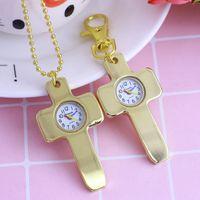 Wholesale key watch necklace for sale - Group buy new famous creative gold cross necklace quartz pocket quartz watches women men religious holy key chains simple clock watches