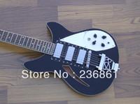 e-gitarre schwarzer tremolo großhandel-Kostenloser Versand Großhandelspreis Verkauf 12 Saiten Rick 3 Pick-up schwarz E-Gitarre von Tremolo Ricken