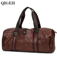 Wholesale suitcase - QIGER Luxury Men Leather Travel Bag Vintage Men Fashionable Duffle Bags High Capacity Brown Shoulder Bag