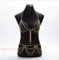 Wholesale sexy waist necklace resale online - New design women sexy handmade pearl long shoulder chain waist chain body chain jewelry jewelry necklace