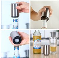 Wholesale stainless steel magnets for sale - Group buy New Stainless Steel Magnet Automatic Bottle Opener Automatic Beer Opener Silver cylinder Bottle Opener
