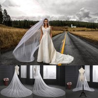 Wholesale cathedral veils for sale - 2018 Elegant Wedding Veil Meters Long Soft Bridal Veils With Comb One layer Ivory White Color Bride Wedding Accessories CPA078