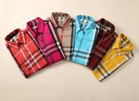 karierte blusen für frauen großhandel-BBR Rainbow Plaid Shirt Langarm Super Beliebte Shirt Frauen Camisa Frau Blusen Hemden Fashion Business Hemden Medusa Casual # 552