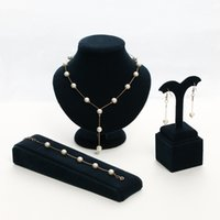 nachgemachte perlenschmucksachen großhandel-Brand New 2 Farbe Schmuck süße elegante Frauen Nachahmung Perlenschmuck Sets einfache Choker Halskette Armband Ohrringe