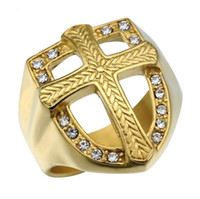 Wholesale Fashion Hip Hop Knights Templar Armor Crusader Cross Rings Stainless Steel Iced Out Crystal Gold Signet Rings for Men Jewelry