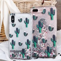 Wholesale iphone dynamic sand case for sale - For iPhone Xr Xs Max Plus Dynamic Liquid Glitter Quicksand Silver Sand Cacti Case High Quality