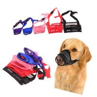 mordida en la boca al por mayor-1 UNID Malla Ajustable Transpirable SmallLarge Boquilla de Boca del Perro Anti Bark Bite Chew Dog Bozales Productos de Entrenamiento Accesorios Para Mascotas
