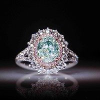 Wholesale pink topaz jewelry set resale online - High quality classic ladies jewelry pink crystal diamond engagement ring female inlaid green topaz color jewelry