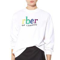 ingrosso felpe donna-18SS S-XL Rainbow Letter ricamo a maniche lunghe con cappuccio donna uomo Hip Hop Streetwear cotone Sweatershirts cappotto bianco arancio HFLSWY183