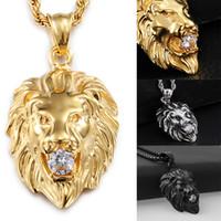 ingrosso collana della catena di modo della testa del leone-Ciondolo prepotente con testa di leone Collana in acciaio inossidabile 316L con placcatura in oro Collana con catena