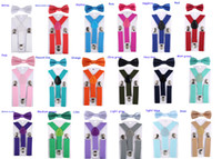 10set New Children Kids Boy Girls Clip-on Y Back Elastic Suspenders with Bow Tie Set Adjustable Braces Christmas gift full color