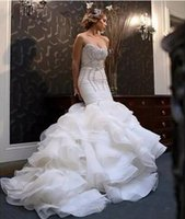 Wholesale strapless organza lace wedding dress resale online - 2018 New African Mermaid Wedding Dresses Plus Size Bling Crystal Beaded Court Train Bridal Gowns Organza Ruffles Tiered Skirt Bridal Dress