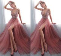 Wholesale maternity light gray dresses online - 2018 Junoesque Side Spit A Line Prom Dresses V Neck Sleeveless Zipper Floor Length Evening Dresses