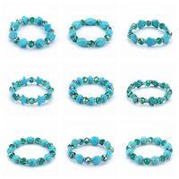 Wholesale Handmade Stretch Bracelets - Mix order handmade beaded bracelet stretch women crystal beads bracelets natural stone turquoise bead bracelet jewelry wholesale