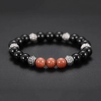 Wholesale wholesale jewellery natural stones - Lava Stone Strand Bracelets & Bangles Natural Bead Siver Color DIY Bracelets for Women Black red Mens Jewellery 320128