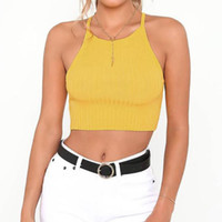 db2d081f59621 cropped cami NZ - Women Sexy Halter Crop Top Vest Summer Solid Sleeveless  Blouse Yellow Backless