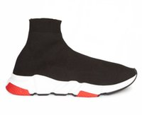 deportes flash al por mayor-Oferta Flash Zapatillas de calcetines Zapatillas de entrenamiento de velocidad Zapatillas de deporte con caja Zapatillas altas Zapatillas Zapatillas de carreras Zapatillas de deporte Hombre Mujer Zapatos deportivos Negro Rojo Oreo