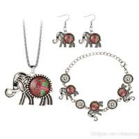 Wholesale Cross Border European Fashion Three piece Bracelet Earrings Necklace Time Jewel Life Tree Elephant Suit