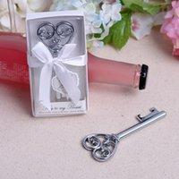 şık şişe açacağı toptan satış-Benim Kalp Şişe Açacağı Anahtar Beyaz Hediye kutusunda 100 ADET / GRUP Düğün favor-