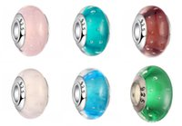 Wholesale glass bead tubes - Wholesale Retail New Arrival Silver Plated Tube Lampwork Glass Glass Charm Bead For Trend Bracelet Free Shipping D675S