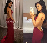 Wholesale occasion elastic spaghetti special dresses resale online - 2018 Burgundy Sexy Backless Mermaid Evening Dresses Spaghetti Sweep Train Long Formal Prom Party Gowns Special Occasion Dress Abendkleider