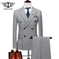 casaco preto venda por atacado-Plyesxale Mens Dupla Breasted Ternos Terno Masculino Ternos Formais dos homens do Ajuste Fino Conjunto Marca Cinza Jaqueta Preta Calças Colete Q176