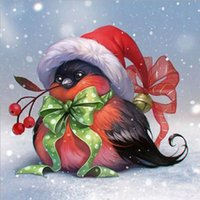Wholesale picture christmas decorations - Christmas bird 5D DIY diamond painting embroidery room decoration cross-stitch kits Picture full of rhinestones sales YZ101