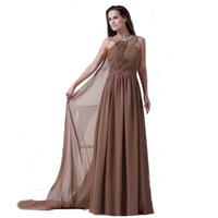 amerikanische kleider großhandel-2018 Eren Jossie Neckholder Brown Chiffon Langes Abendkleid Perlen Plissee Kleid European American Style