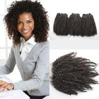 kinky kıvırcık saç 4pcs kapanış toptan satış-İşlenmemiş İnsan Saç Uzantıları Ile Bakire Perulu Afro Kinky Kıvırcık Saç Paketler Dantel Kapatma 4 adet Lot