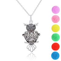 Wholesale vintage owl locket necklace resale online - Vintage Owl Design Perfume Locket Pendant Necklace Essential Oils Essential Oil Diffuser Necklace Aromatherapy Diffuser Necklace