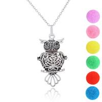medallones búho vintage al por mayor-Vintage Owl Design Perfume Medallón Colgante Collar Aceites Esenciales Aceite Esencial Difusor Collar Aromaterapia Difusor Collar