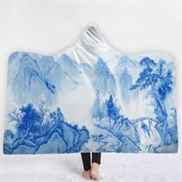 tecido de porcelana branca azul venda por atacado-Azul Branco Porcelana Impressão Inverno Cobertor Com Capuz Sofá Cama Tecido de Lã Dupla Camada de Espessura Macia Morna Throw Cobertores Casa Têxtil