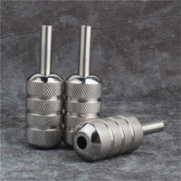 Wholesale Stainless Steel Grip Tubes - YILONG High Quality Tattoo Grips 25mm Silver Knurled Stainless Steel Tattoo Machine Grip Tube Supply Tattoo & Body Art