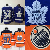 Wholesale Cheap Toronto Maple Leaf Jerseys - Mens Edmonton Oilers Jersey Captain C Patch 97 Connor McDavid & Toronto Maple Leafs 34 Auston Matthews Hockey Jerseys Cheap Wholesale